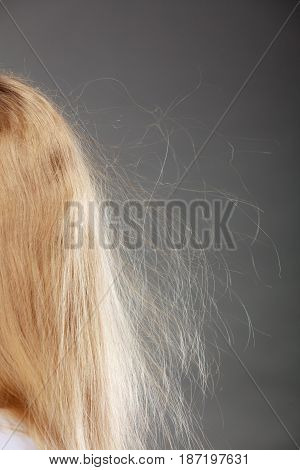 Closeup Of Woman With Static Blonde Hair.