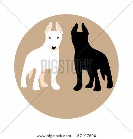 Bull Terrier puppy vector illustration style Flat set black silhouette