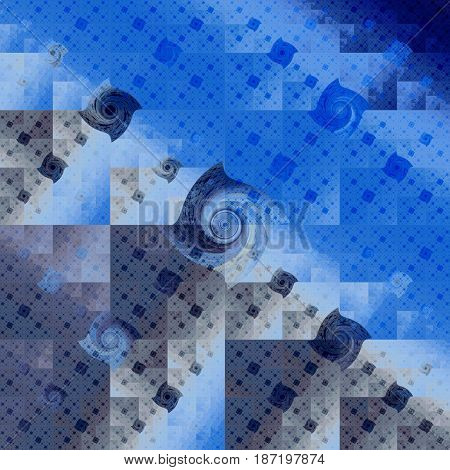 Abstract Geometric Background. Psychedelic Fractal Design In Dark Blue And Grey Colors. Digital Art.