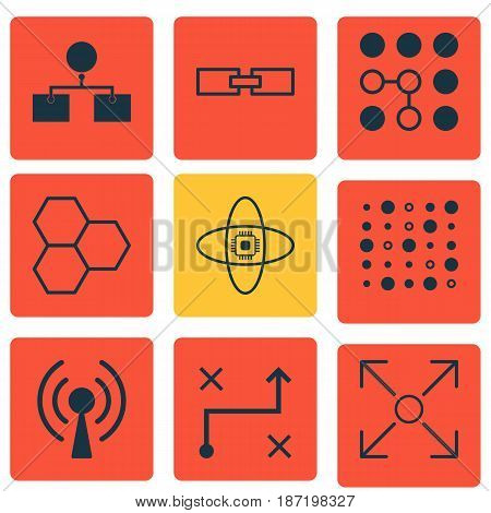 Set Of 9 Artificial Intelligence Icons. Includes Solution, Atomic Cpu, Branching Program And Other Symbols. Beautiful Design Elements.