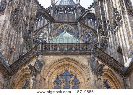 14th century St. Vitus Cathedral facade Prague Czech Republic