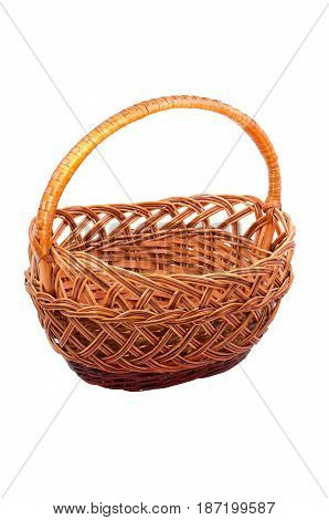 Wicker basket with handle isolated on white background
