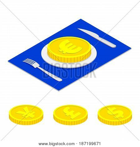 Business lunch concept infographic. Isometric 3d euro coin on plate isolated on white background. Cutlery fork and knife. With a set dollar, yen and pound.
