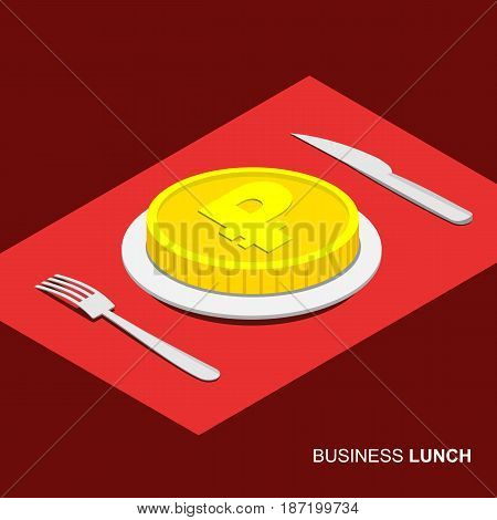 Business lunch concept infographic. Isometric 3d coin with ruble sign on plate isolated on white background. Cutlery fork and knife.