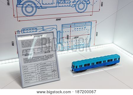Mytischi Moscow region Russia May 16 2017: Retro subway train carriage model inside of the Metrovagonmash museum.
