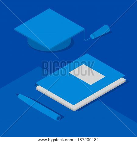 Graduation cap, papers in folder and pen. Concept of academic study or science. Isometric 3D vector clip art in blue colors.