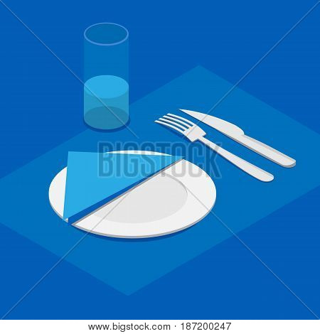 3d isometric table appointments in blue color. Knife, fork, plate with napkin and a glass of water.