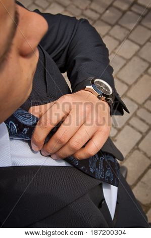 Fashion Portrait Of Young Businessman Handsome Model Man In Casual Cloth Suit With Accessories On Ha