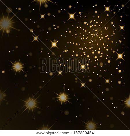 Gold Light Stars On Black Background