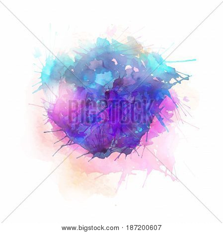 Vector pink and blue abstract illustration on white background.