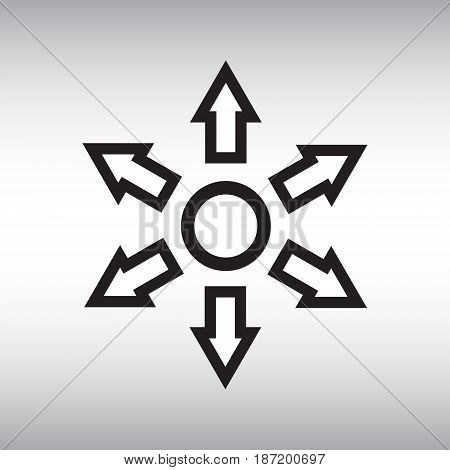 Circle and arrows flat vector icon. Distribution isolated vector sign. Circle and arrows vector illustration.