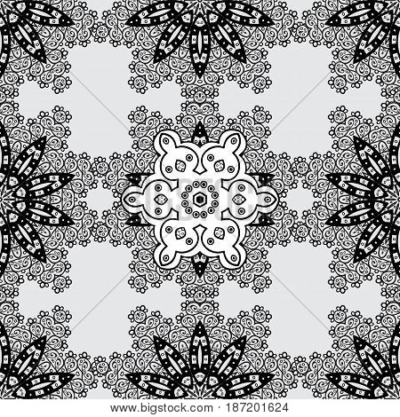 Seamless oriental ornament in the style of baroque. Vector traditional classic dim seamless pattern on gray background.
