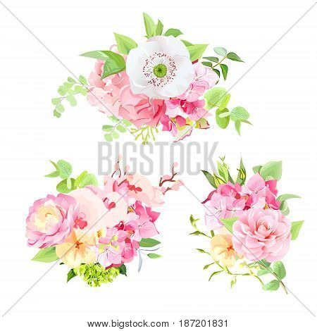Bright summer bouquets of wild rose, white poppy, camellia, orchid, pink carnation, hydrangea and green leaves. Happy sunny vector floral design.  All elements are isolated and editable.