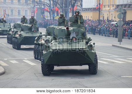 SAINT-PETERSBURG, RUSSIA - MAY 09, 2017: Self-propelled artillery gun