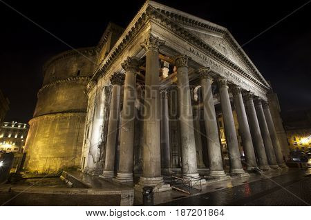Pantheon, historic building landmark in Rome, Italy. Night. Commissioned by Marcus Agrippa during the reign of Augustus (27 BC - 14 AD) and rebuilt by the emperor Hadrian about 126 AD.