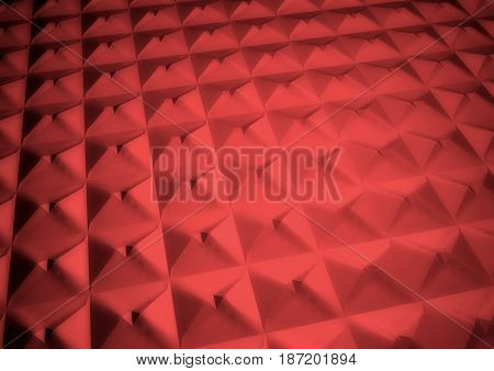 Dimensional abstract red geometric polygon backdrop. 3D rendering.