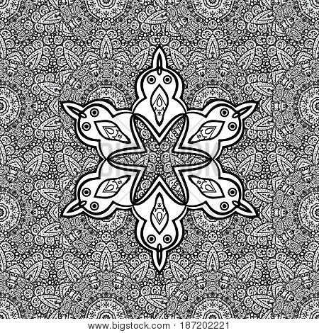 Antique dimen repeatable sketch. Dim floral ornament in baroque style. Dim element on gray background. Damask seamless repeating pattern.