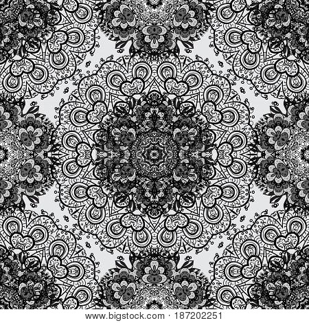Vector dim mehndi seamless pattern. Ornamental floral elements with henna tattoo dimen stickers mehndi and yoga design cards and prints. Pattern on gray background.