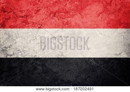 Grunge Yemen Flag. Yemen Flag With Grunge Texture.