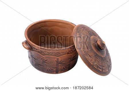 Clay pot with an open lid isolated on a white background