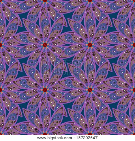 Floral seamless pattern with bright summer flowers in blue colors. Endless vector texture for romantic design decoration greeting cards posters wrapping for textile print and fabric.