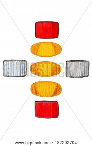 various bicycle reflectors isolated on white background