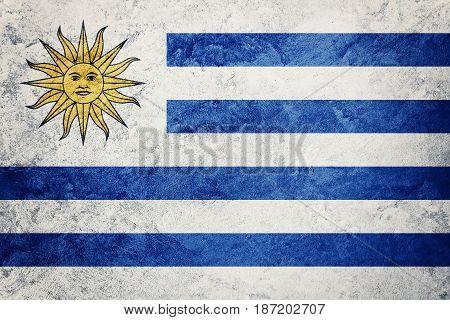 Grunge Uruguay Flag. Uruguay Flag With Grunge Texture.