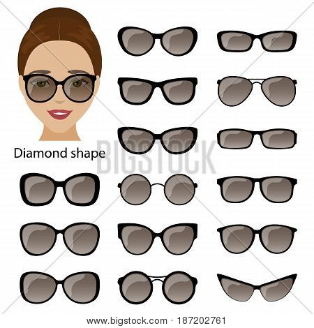 Spectacle frames shapes for diamond women face. Vector