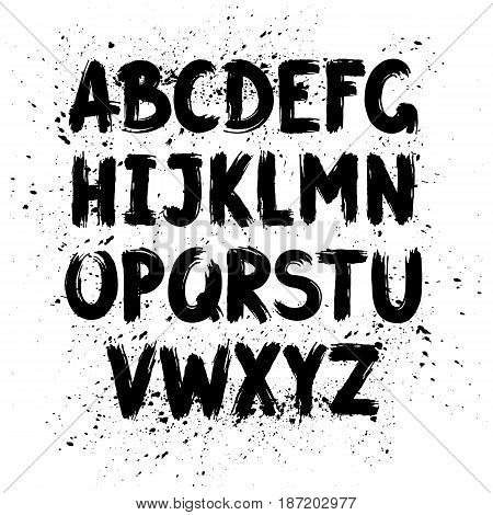 Hand written calligraphy alphabet black ink brush lettering abc latin alphabet grunge font style with ink splashes. Vector
