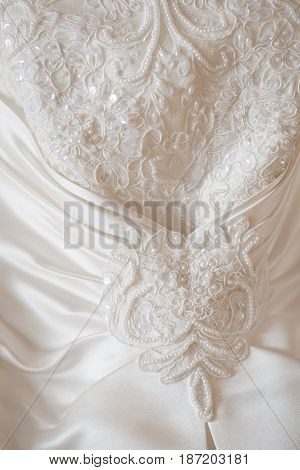 modern and beautiful white bridal wedding dress details