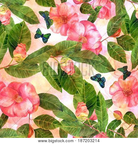 A seamless background pattern with beautiful pink watercolor camellia flowers with green leaves, and blue butterflies, on a pastel texture