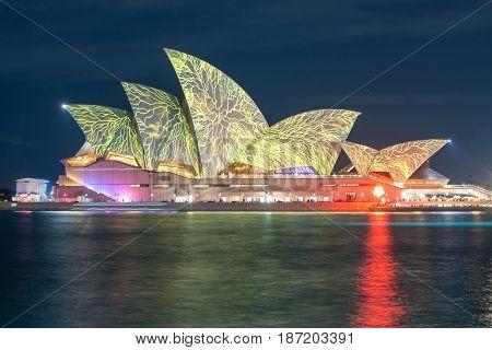 SYDNEY, AUSTRALIA - MAY 29 2015: Vivid Sydney light and sound festival, Sydney 2015