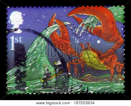 UNITED KINGDOM - CIRCA 2002: A stamp printed in Great Britain shows illustrations for the story 'The Crab that played with the Sea' by Rudyard Kipling, series authors - Rudyard Kipling, circa 2002