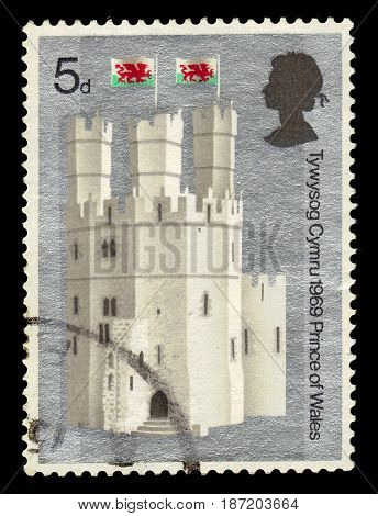GREAT BRITAIN - CIRCA 1969: A stamp printed in the Great Britain shows Eagle Tower, Caernarvon Castle, Wales, circa 1969