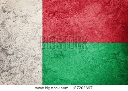 Grunge Madagascar Flag. Madagascar Flag With Grunge Texture.