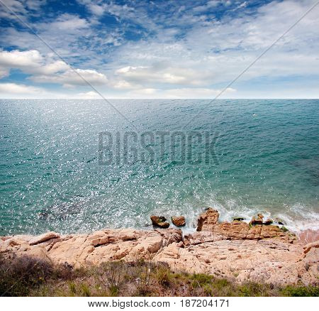 Wild rocky coast and clear water of the Mediterranean Sea