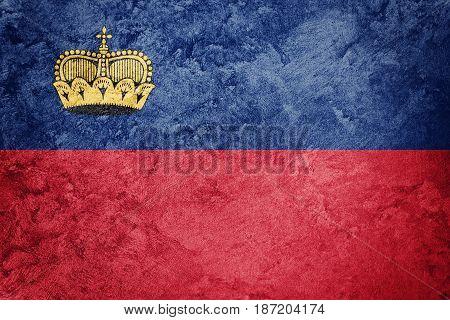 Grunge Liechtenstein Flag. Liechtenstein Flag With Grunge Texture.