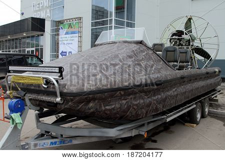 PERM RUSSIA-APRIL 14 2017: Camouflage Hovercraft