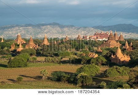 The scenery view of Bagan plains the land of thousand pagoda of Myanmar.