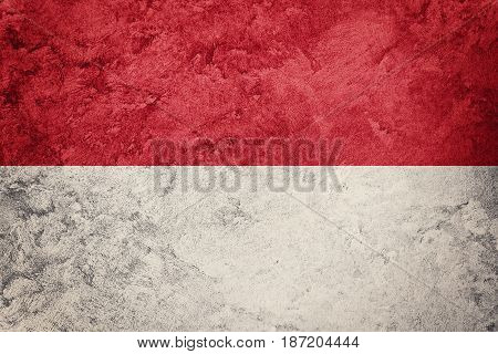 Grunge Indonesia Flag. Indonesia Flag With Grunge Texture.