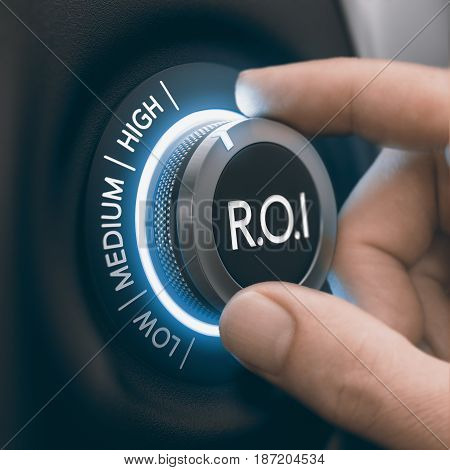 Hand turning knob to select high return on investment black and blue tones. ROI Concept. Composite image between a hand photography and a 3D background.