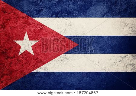 Grunge Cuba Flag. Cuban Flag With Grunge Texture.