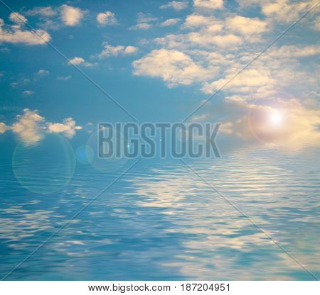 Reflection of a beautiful sunny sky in an ocean surface