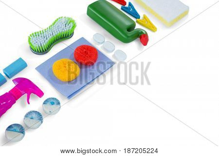 High angle view of cleaning products over white background