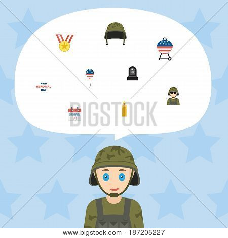 Flat History, Soldier Helmet, Military Man And Other Vector Elements. Set Of Day Flat Symbols Also Includes Grave, Bbq, Military Objects.