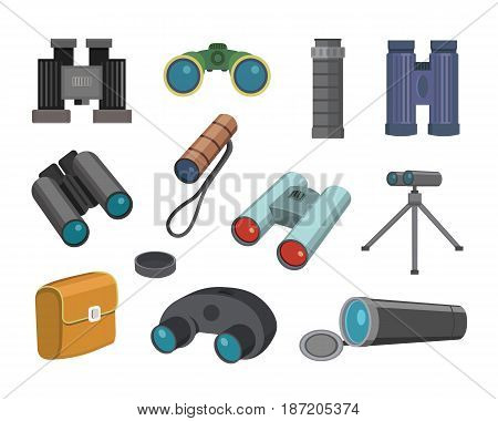 Binoculars glasses look-see isolated on white background military travel zoom search binocular vector illustration. Navigation technology optical view watch equipment instrument.