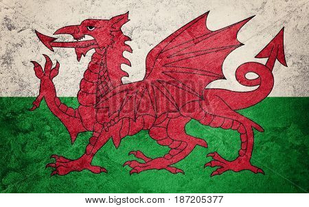 Grunge Welsh Flag. Welsh Flag With Grunge Texture.