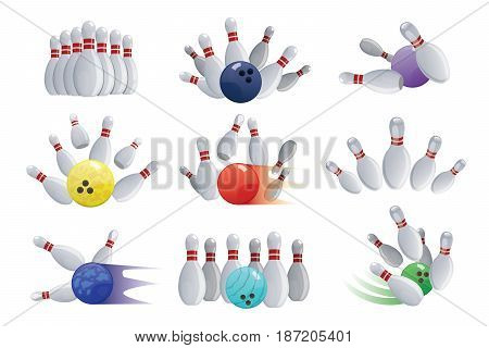 Bowling ball crashing into the pins isolated on white background skittles ninepins kegling vector illustration. Sport game strike play hobby equipment