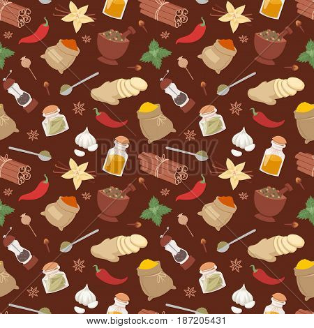 Spices, condiments and herbs relish decorative elements and icons. Seeds, fruit, flower buds, leaves, blends and roots of seasoning food plants. Healthy organic vegetable. Seamless pattern