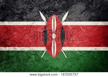 Grunge Kenya Flag. Kenya Flag With Grunge Texture.